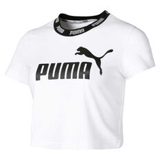 Puma Womens Amplified Cropped Tee White S, White, rebel_hi-res