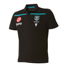 Port Adelaide Mens 2021 Travel Polo Black S, Black, rebel_hi-res