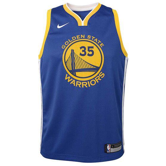 Nike Golden State Warriors Kevin Durant 2019 Kids Swingman Jersey Rush Blue XL, Rush Blue, rebel_hi-res