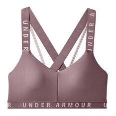 Under Armour Wordmark Strappy Sports Bra Pink XL, Pink, rebel_hi-res