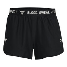 Under Armour Womens Project Rock Play Up Shorts Black XS, Black, rebel_hi-res