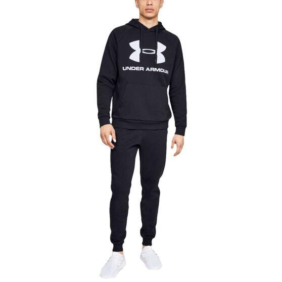 Under Armour Mens Volume Fleece Sportstyle Logo Hoodie, Black, rebel_hi-res