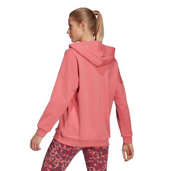 adidas Womens Sportswear Leopard-Print Oversize Hoodie, Orange, rebel_hi-res