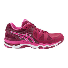 Asics Gel Netburner Super 7 Womens Netball Shoes Maroon / White US 7, Maroon / White, rebel_hi-res