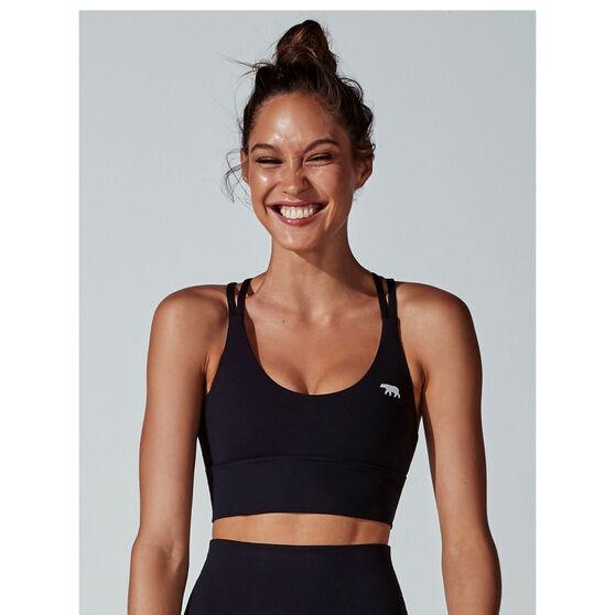 Running Bare Womens Lotus Long Line Sports Bra, Black, rebel_hi-res