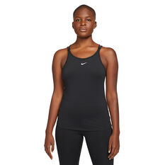 Nike Womens Dri-FIT One Luxe Strappy Tank Black XS, Black, rebel_hi-res