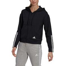 adidas Womens Essentials 3-Stripes Full Zip Sweatshirt, Black, rebel_hi-res