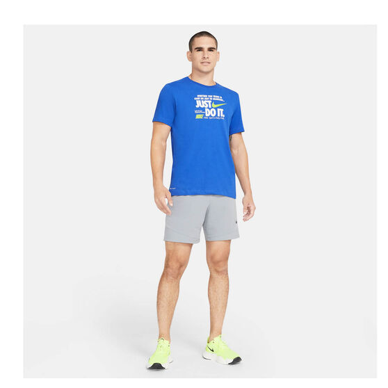 Nike Mens Dri-FIT Just Do It Verbiage Training T-Shirt, Blue, rebel_hi-res