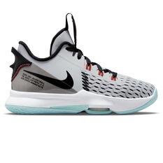 Nike LeBron Witness 5 Kids Basketball Shoes White US 4, White, rebel_hi-res
