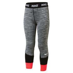 Nike Girls Dri Fit Split Legging Grey 4, Grey, rebel_hi-res