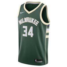 Nike Milwaukee Bucks Giannis Antetokounmpo 2019 Mens Swingman Jersey Green S, Green, rebel_hi-res