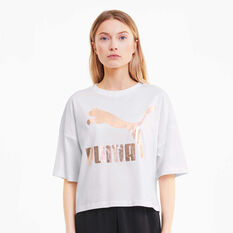 Puma Womens Classics Loose Fit Tee, White, rebel_hi-res