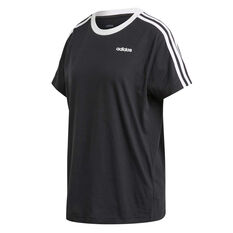 adidas Womens Essentials 3 Stripes Boyfriend Tee Black XS, Black, rebel_hi-res