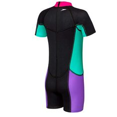 Speedo Toddler Girls Neoprene Suit Black / Multi 6, Black / Multi, rebel_hi-res