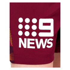 Brisbane Broncos 2021 Kids Training Shorts Maroon 8, Maroon, rebel_hi-res