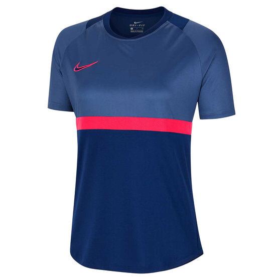 Nike Womens Dri FIT Academy Soccer Tee, Blue, rebel_hi-res
