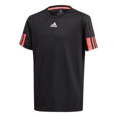 adidas Boys Must Haves Aeroready 3-Stripes Tee Black/Pink 6, Black/Pink, rebel_hi-res