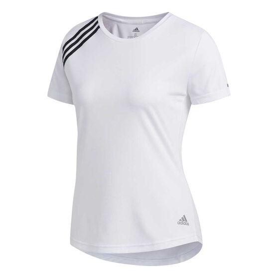 adidas Womens 3-Stripes Run Tee, White, rebel_hi-res