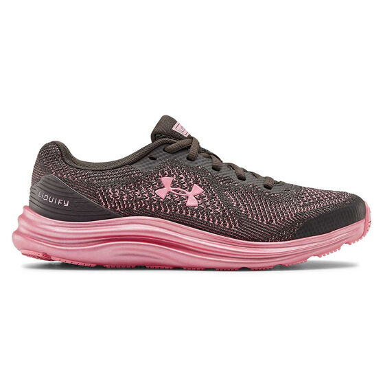 Under Armour Liquify Kids Running Shoes, Grey / Pink, rebel_hi-res