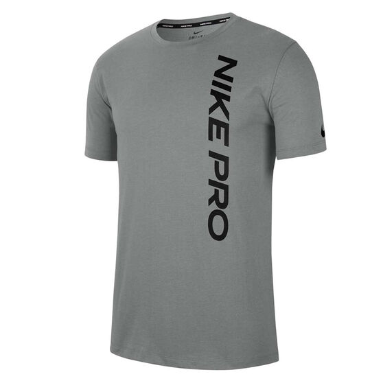 Nike Pro Mens Burnout Tee Grey XL, Grey, rebel_hi-res