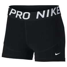 Nike Pro Womens 3in Shorts Black / White XS, Black / White, rebel_hi-res