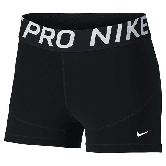 Nike Pro Womens 3in Training Shorts, Black / White, rebel_hi-res