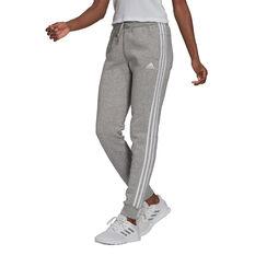 adidas Womens Essentials Fleece 3-Stripes Pants Grey XS, Grey, rebel_hi-res