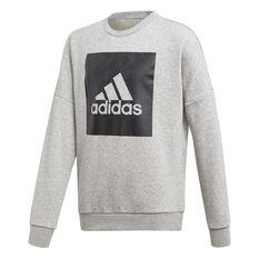 adidas Boys Essentials Big Logo Crew Sweater Grey / Black 6, Grey / Black, rebel_hi-res