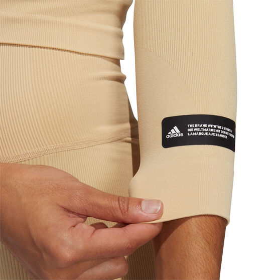 adidas Womens Formotion Cropped Training Tee, Beige, rebel_hi-res