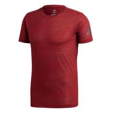 adidas Mens FreeLift Aeroknit Training Tee Red S, Red, rebel_hi-res