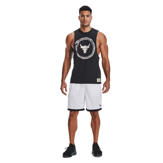 Under Armour Mens Project Rock Same Game Tank, Black, rebel_hi-res