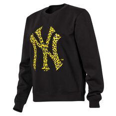Majestic Womens New York Yankees Animal Logo Crew Sweater Black XS, Black, rebel_hi-res
