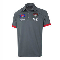 Essendon Bombers 2020 Mens Preseason Polo Grey / Red S, Grey / Red, rebel_hi-res