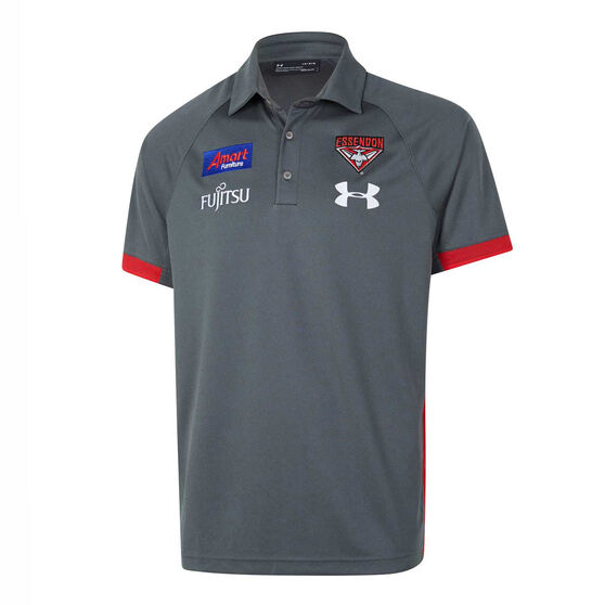 Essendon Bombers 2020 Mens Preseason Polo, Grey / Red, rebel_hi-res