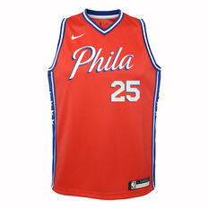 Nike Philadelphia 76ers Ben Simmons 2019/20 Kids Statement Edition Swingman Jersey Red / Blue S, Red / Blue, rebel_hi-res