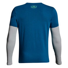 Under Armour Boys Knit 2 in 1 Long Sleeve Tee Blue / Grey XS, Blue / Grey, rebel_hi-res