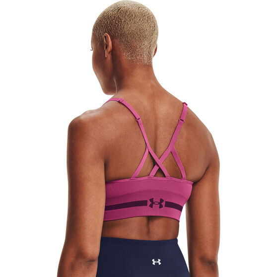 Under Armour Womens Seamless Low Long Sports Bra, Pink, rebel_hi-res