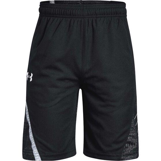 Under Armour Boys SC30 Shorts, Black / White, rebel_hi-res