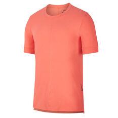Nike Mens Dri-FIT Yoga Tee Coral XS, Coral, rebel_hi-res