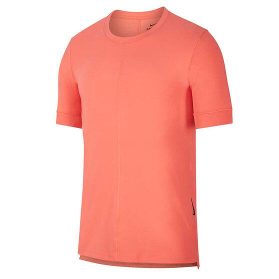 Nike Mens Dri-FIT Yoga Tee Coral M, Coral, rebel_hi-res