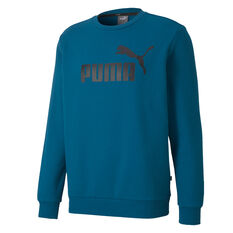 Puma Essentials Mens Logo Fleece Sweatshirt Blue S, Blue, rebel_hi-res