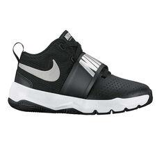 Nike Team Hustle D 8 Junior Boys Basketball Shoes Black / Silver US 11, Black / Silver, rebel_hi-res
