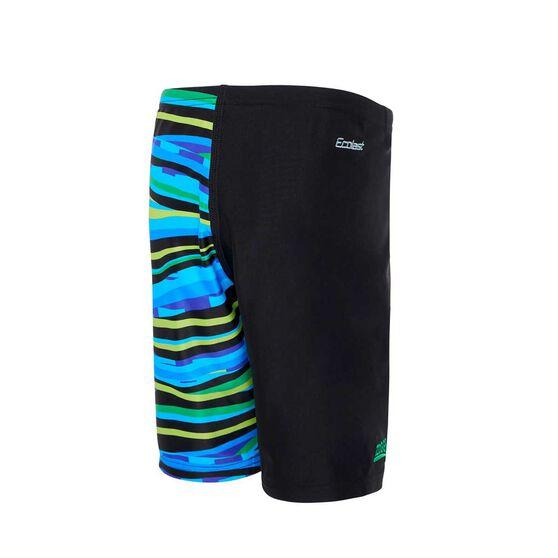 Zoggs Boys Hammer Mid Jammer Swim Shorts, Black / Blue, rebel_hi-res