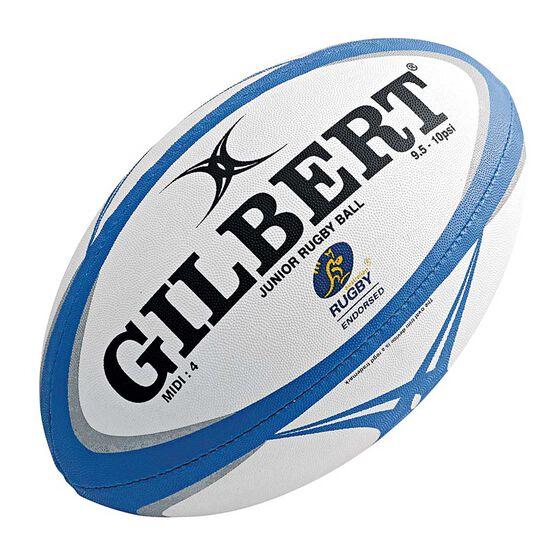 Gilbert Zenon Pathways Midi Rugby Union Ball White / Blue 4, , rebel_hi-res