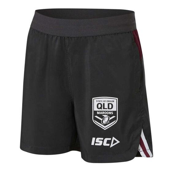 QLD Maroons State of Origin 2020 Kids Training Shorts, Grey, rebel_hi-res