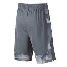 Nike Boys Dry Training Shorts Grey / Volt XS Junior, Grey / Volt, rebel_hi-res