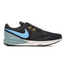 Nike Air Zoom Structure 22 Mens Running Shoes Black / Blue 8.5, Black / Blue, rebel_hi-res