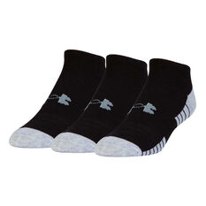 Under Armour Kids HeatGear Low Cut Socks 3 Pack Black L, Black, rebel_hi-res