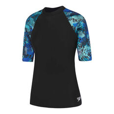 Speedo Womens Leisure Atlas Rash Vest Black 10, Black, rebel_hi-res