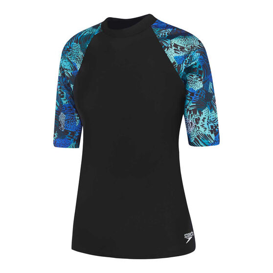 Speedo Womens Leisure Atlas Rash Vest, Black, rebel_hi-res
